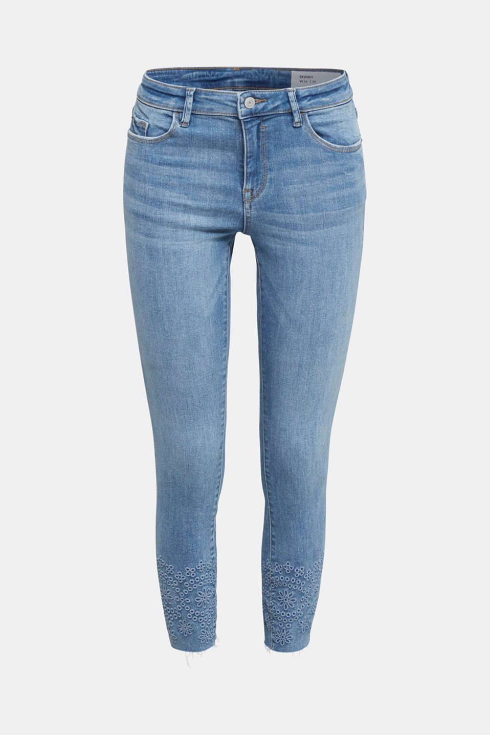 Ankle-length jeans with embroidery, BLUE MEDIUM WASH, detail image number 7