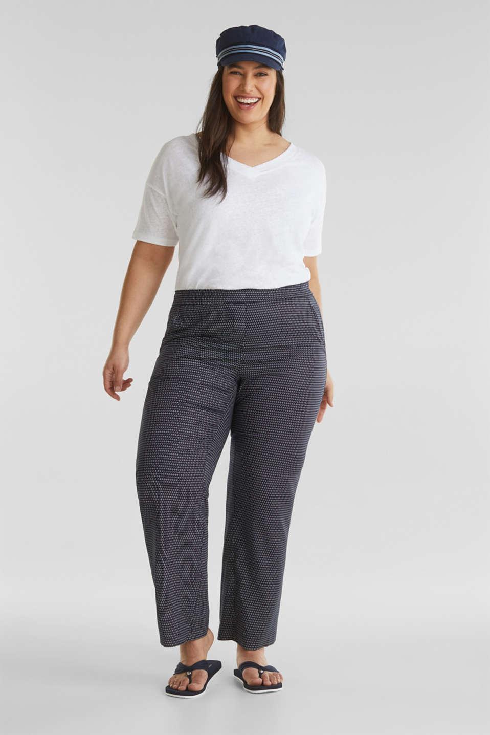 CURVY printed trousers in TENCEL™, NAVY 3, detail image number 1