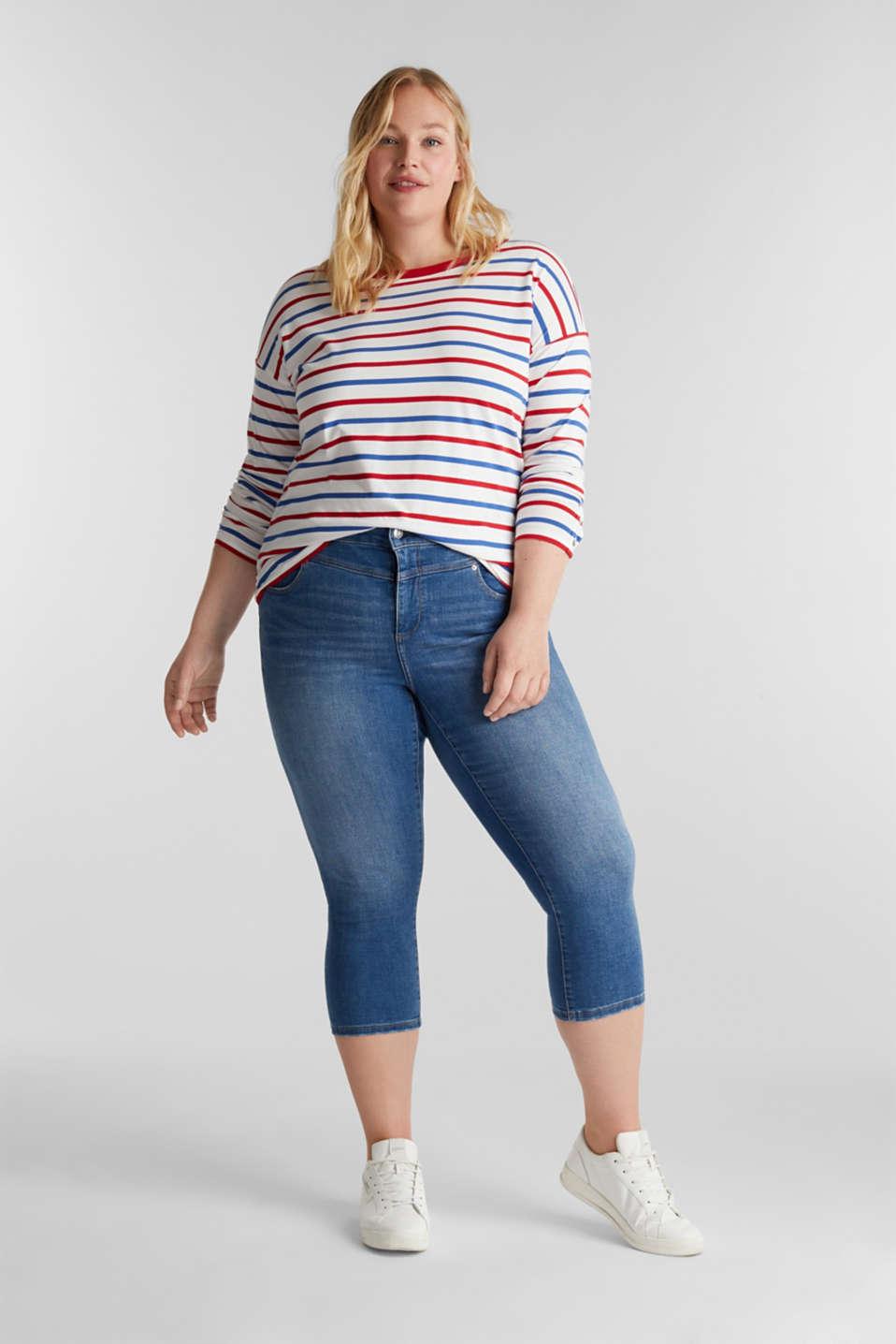 CURVY stretch capris jeans, BLUE MEDIUM WASH, detail image number 0