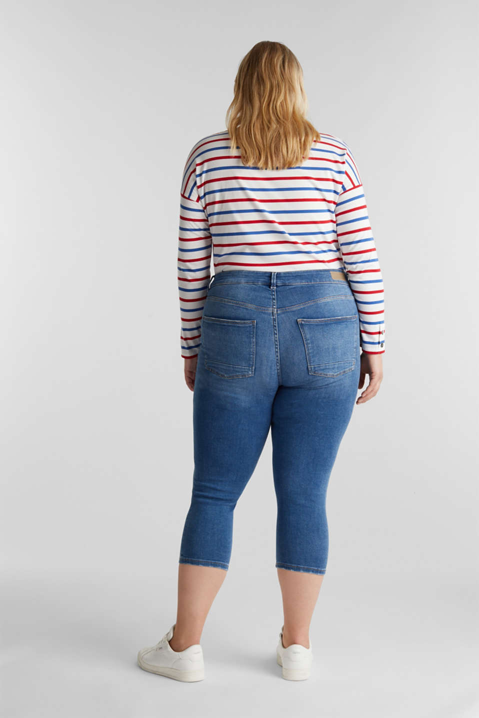 CURVY stretch capris jeans, BLUE MEDIUM WASH, detail image number 3