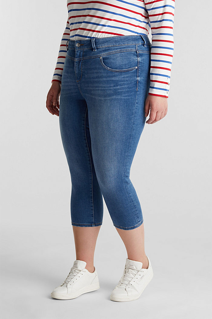 CURVY Capri-Stretch-Jeans, BLUE MEDIUM WASHED, detail image number 6