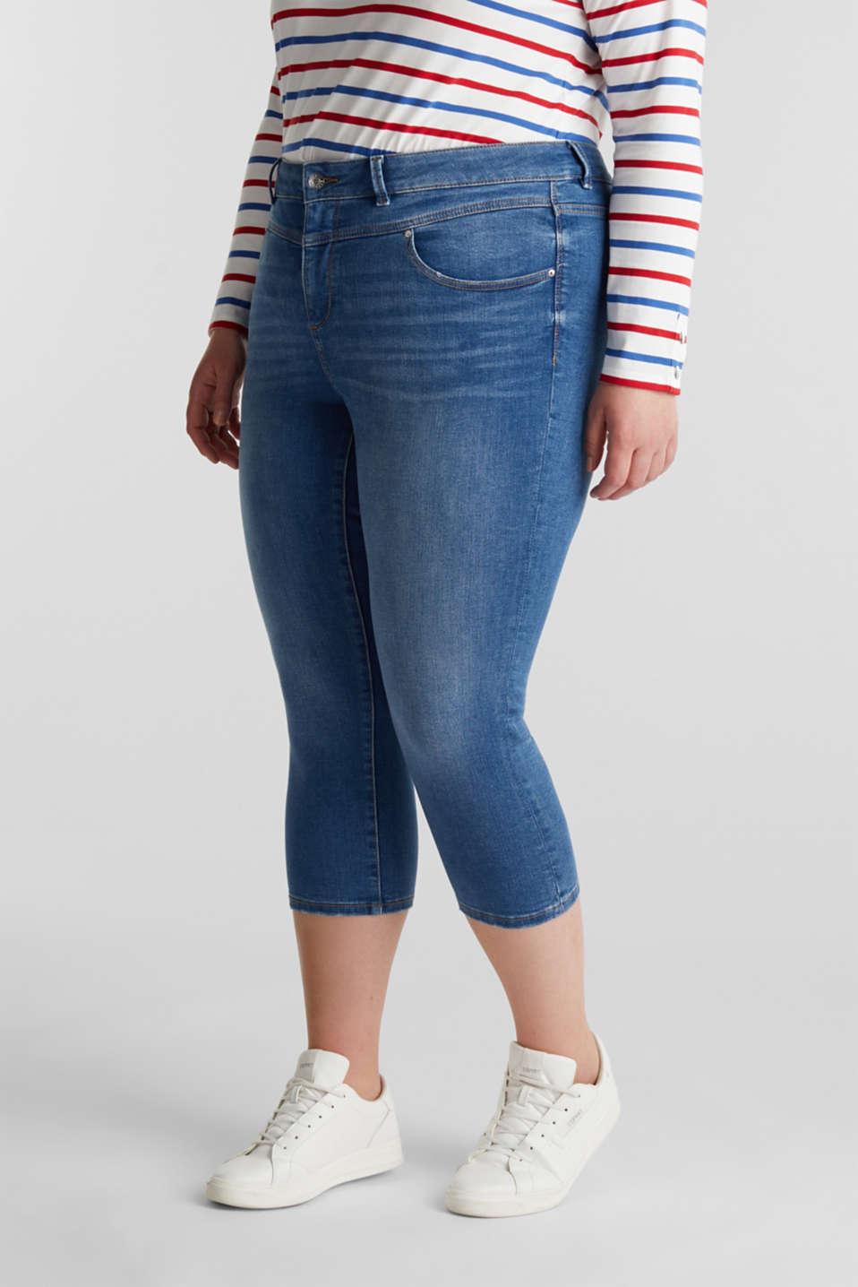 CURVY stretch capris jeans, BLUE MEDIUM WASH, detail image number 6
