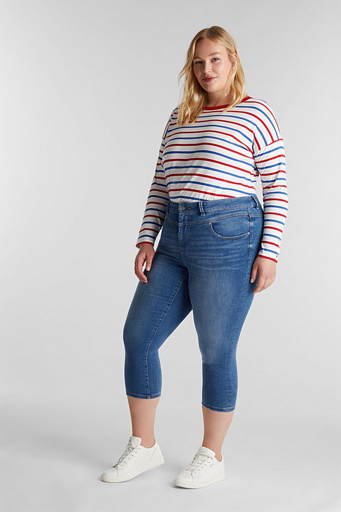 CURVY Capri-Stretch-Jeans, BLUE MEDIUM WASHED, detail image number 1