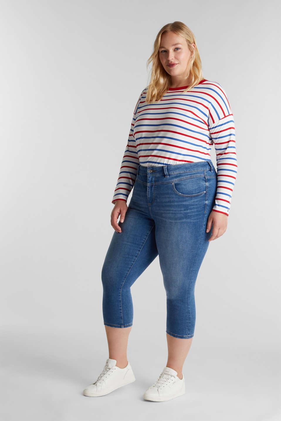 CURVY stretch capris jeans, BLUE MEDIUM WASH, detail image number 1