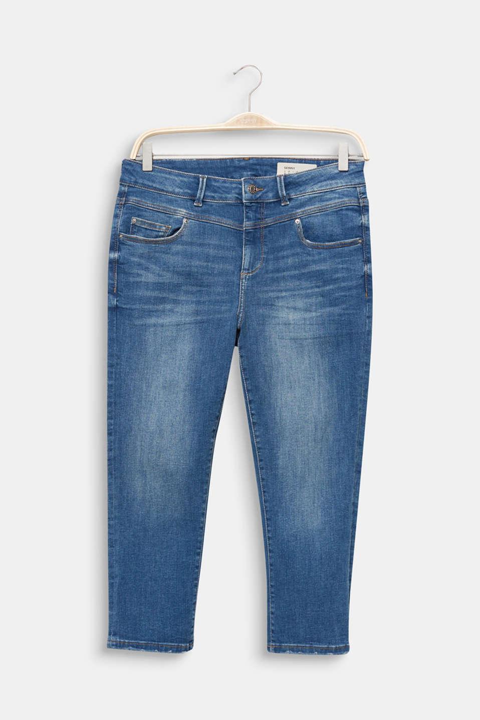 CURVY stretch capris jeans, BLUE MEDIUM WASH, detail image number 7