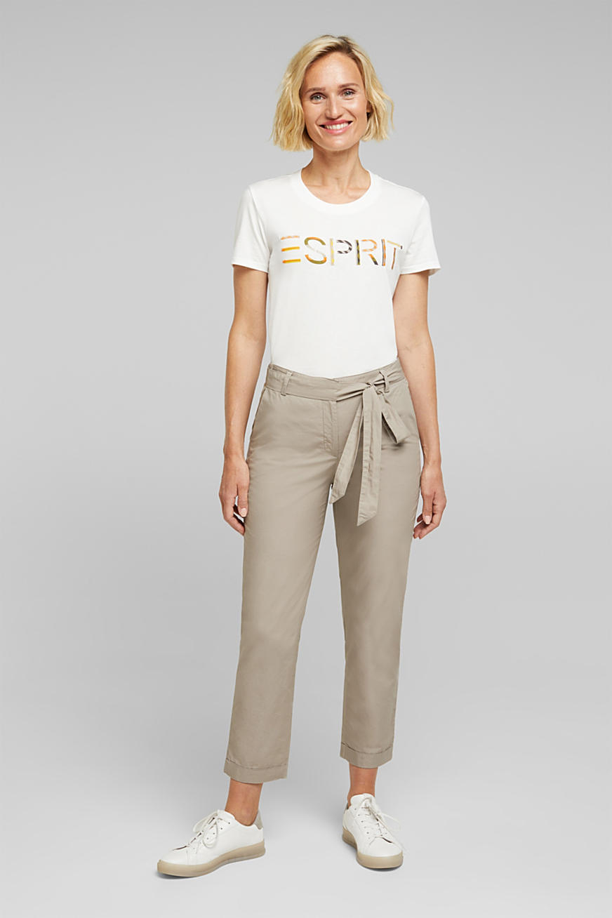 Ankle-length trousers with a belt, organic cotton