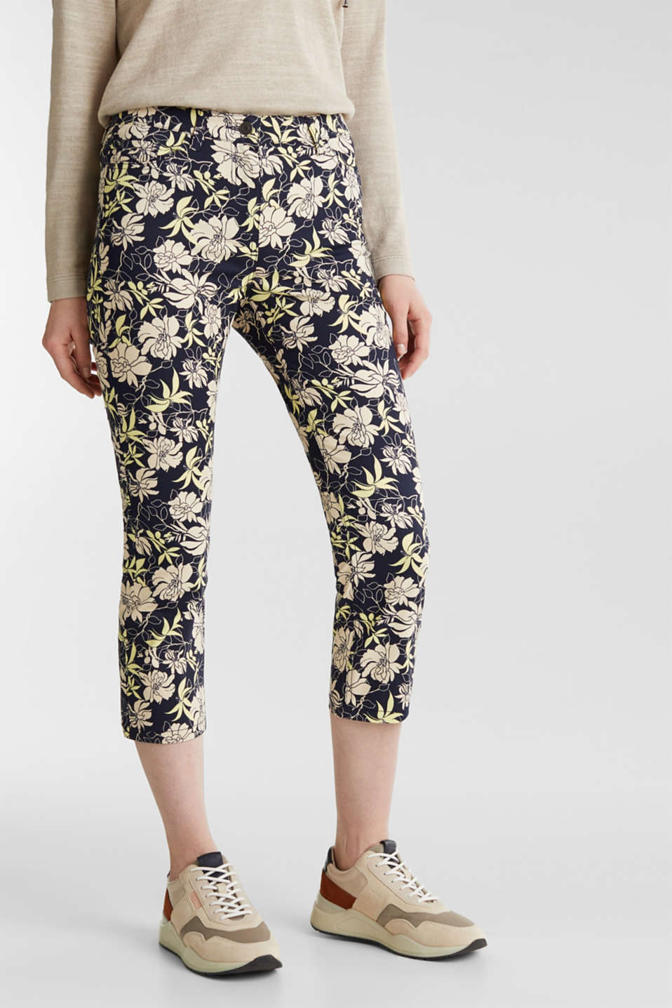 Capri trousers with floral print, NAVY 4, detail image number 0
