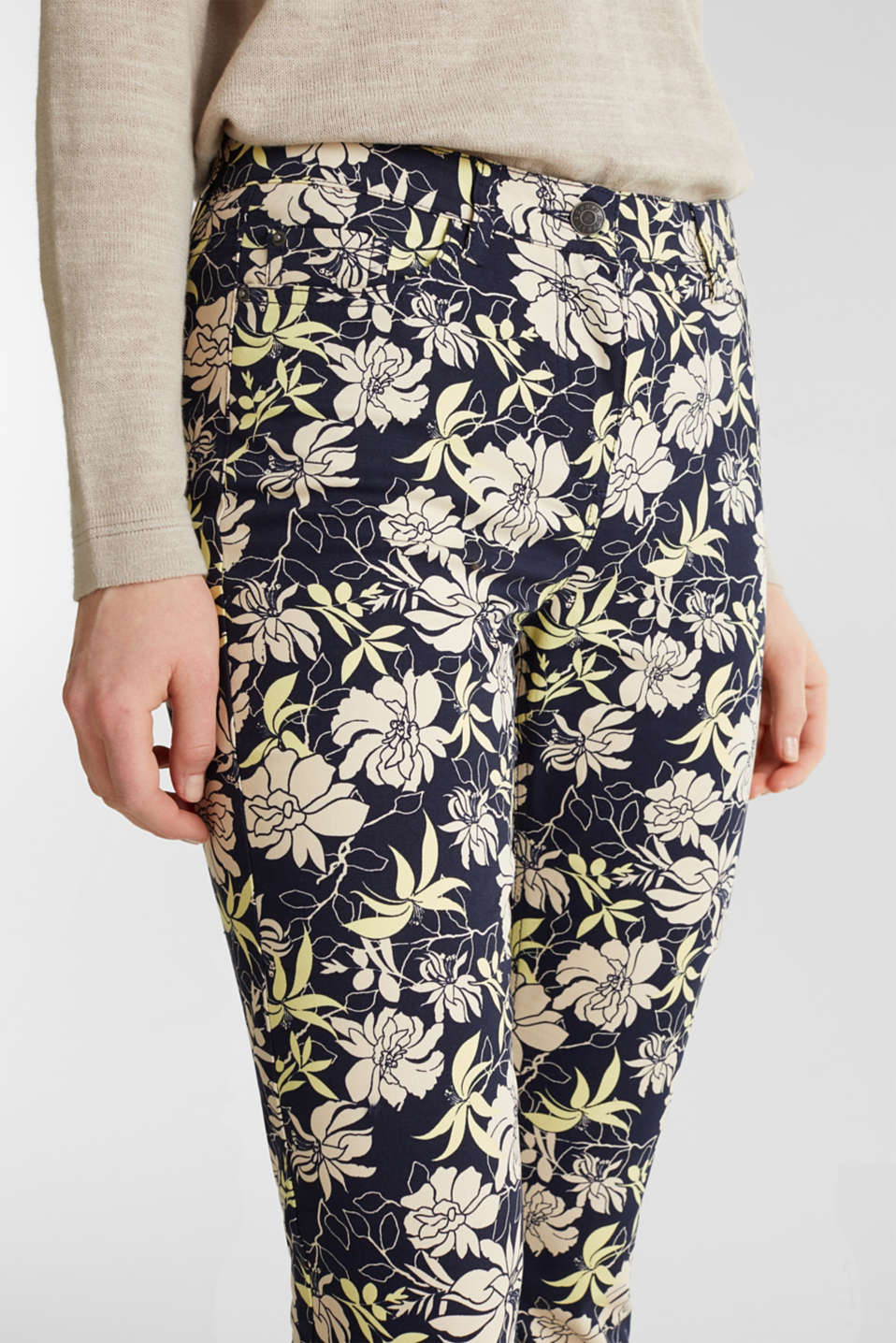 Capri trousers with floral print, NAVY 4, detail image number 1