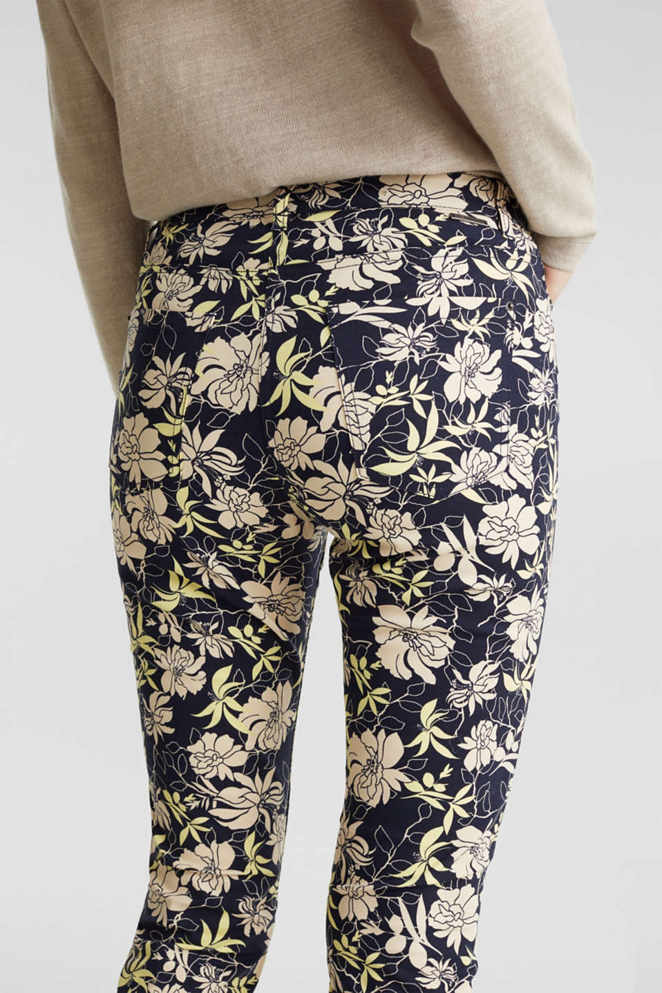 Capri trousers with floral print, NAVY 4, detail image number 3