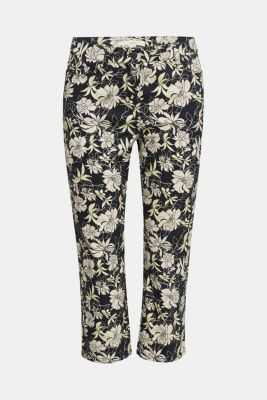 Capri trousers with floral print, NAVY 4, detail
