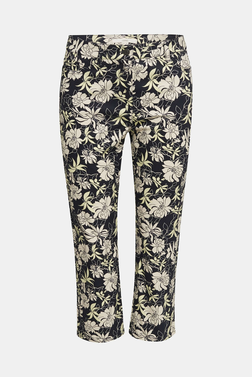 Capri trousers with floral print, NAVY 4, detail image number 4