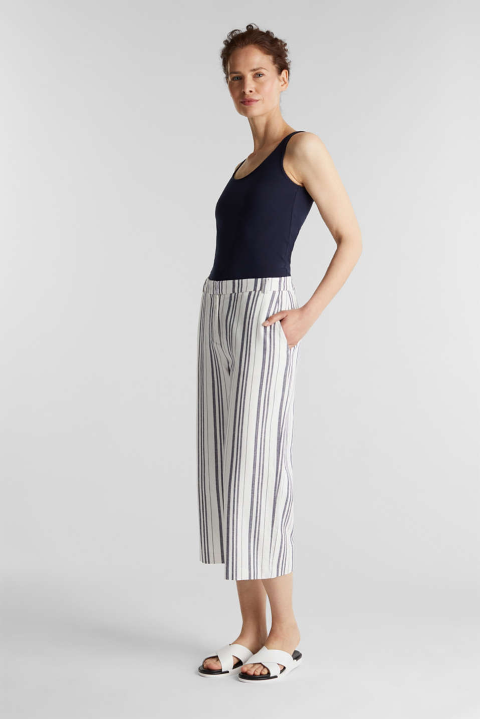 With linen: striped culottes, OFF WHITE, detail image number 0