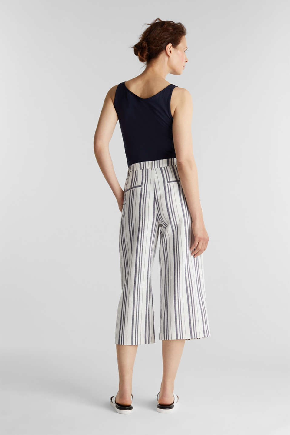 With linen: striped culottes, OFF WHITE, detail image number 3