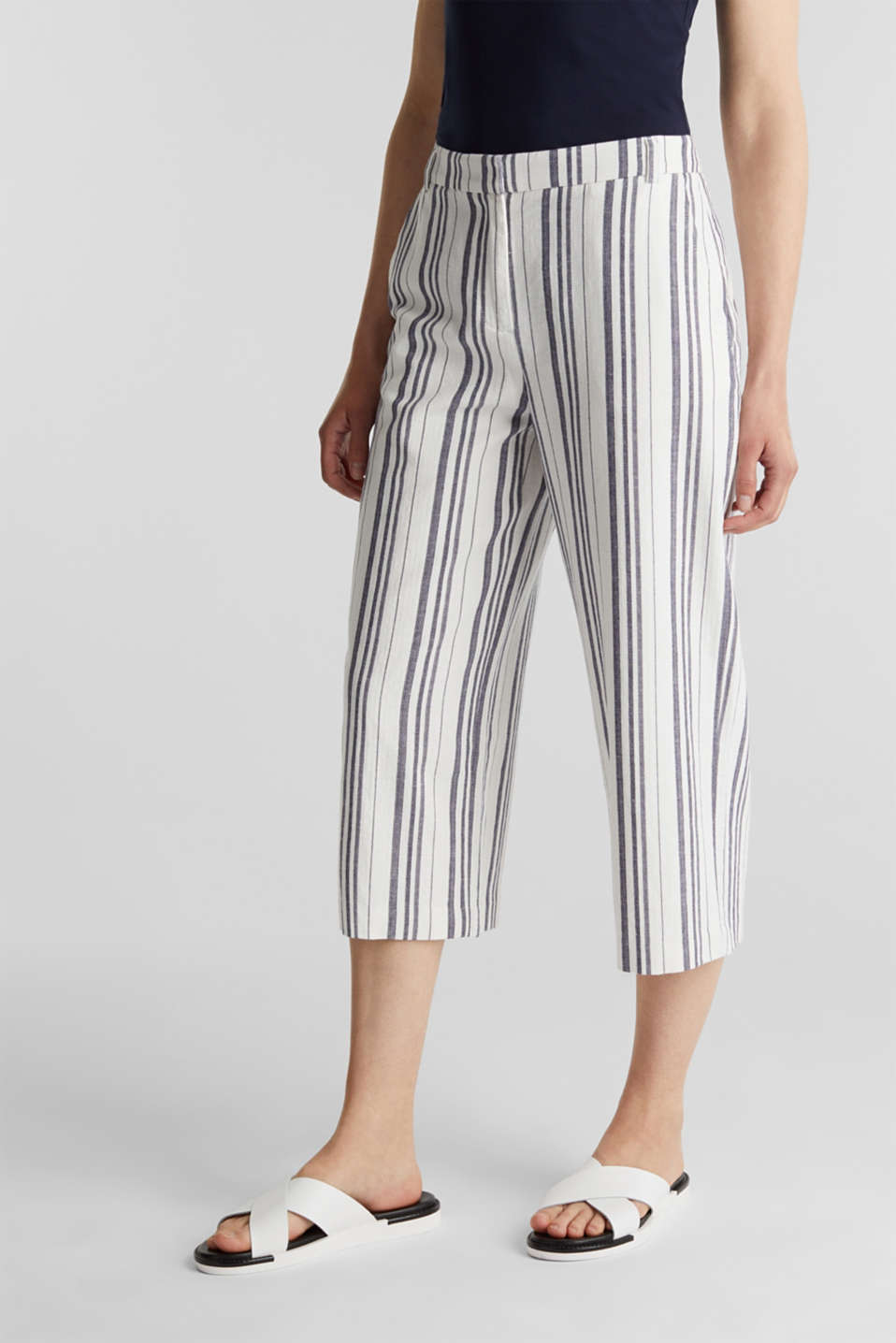 With linen: striped culottes, OFF WHITE, detail image number 6