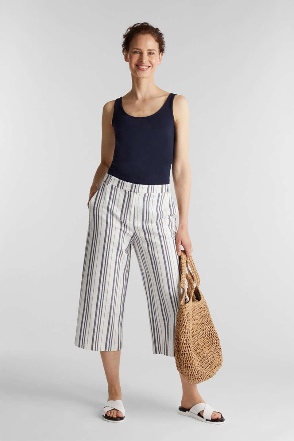 With linen: striped culottes, OFF WHITE, detail image number 1