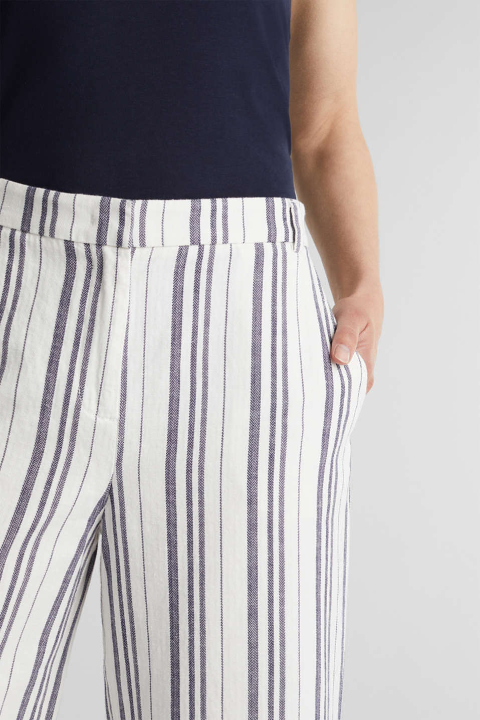 With linen: striped culottes, OFF WHITE, detail image number 2