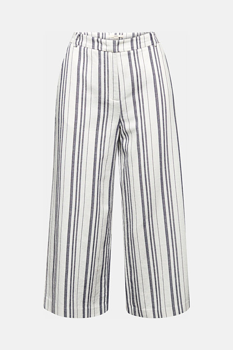 With linen: striped culottes