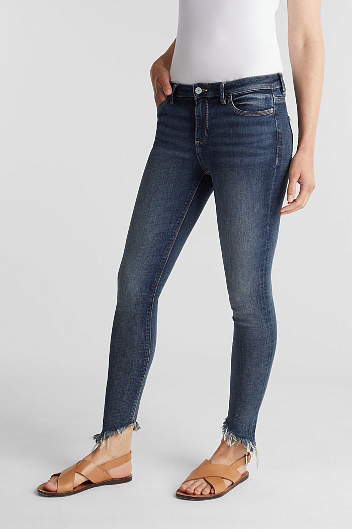 Stretch jeans with frayed hems, BLUE MEDIUM WASHED, detail image number 0