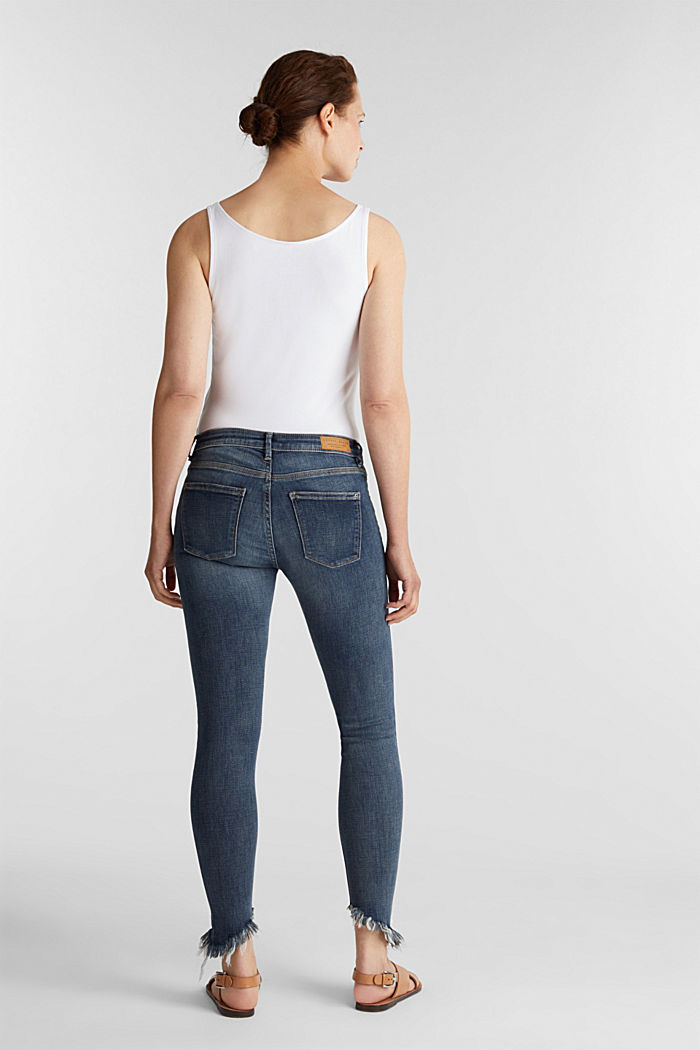 Stretch jeans with frayed hems, BLUE MEDIUM WASHED, detail image number 3