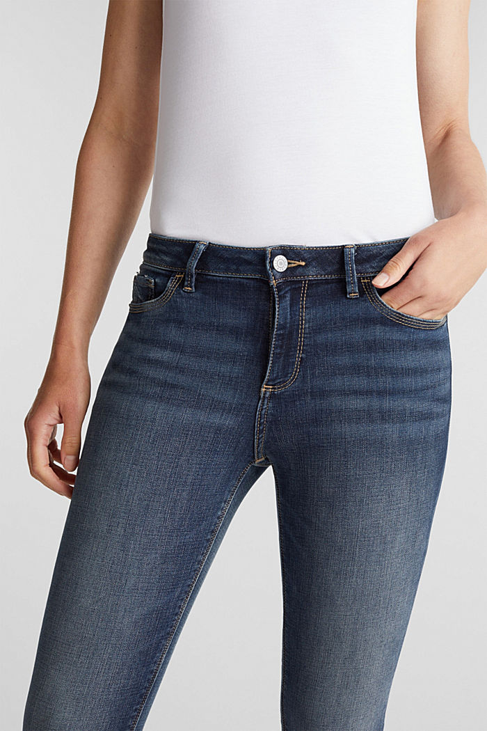 Stretch jeans with frayed hems, BLUE MEDIUM WASHED, detail image number 5