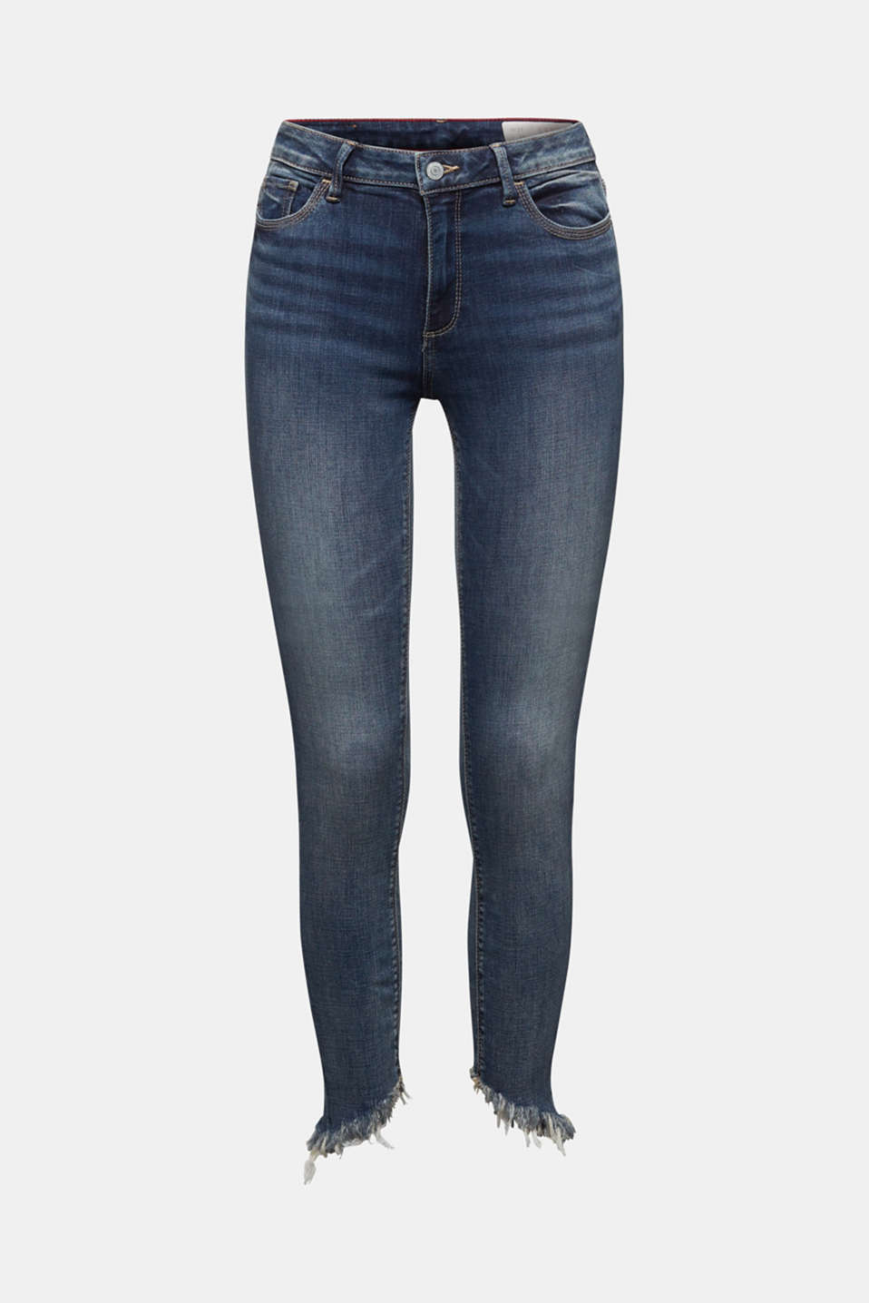 Stretch jeans with frayed hems, BLUE MEDIUM WASH, detail image number 7