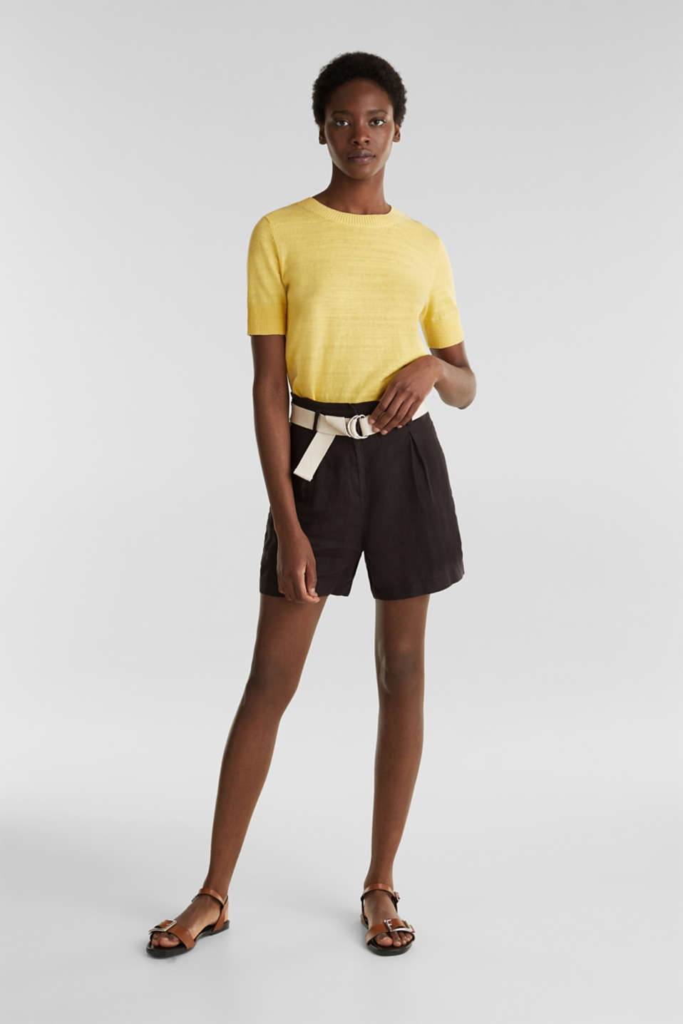 Esprit - Made of linen: paperbag shorts