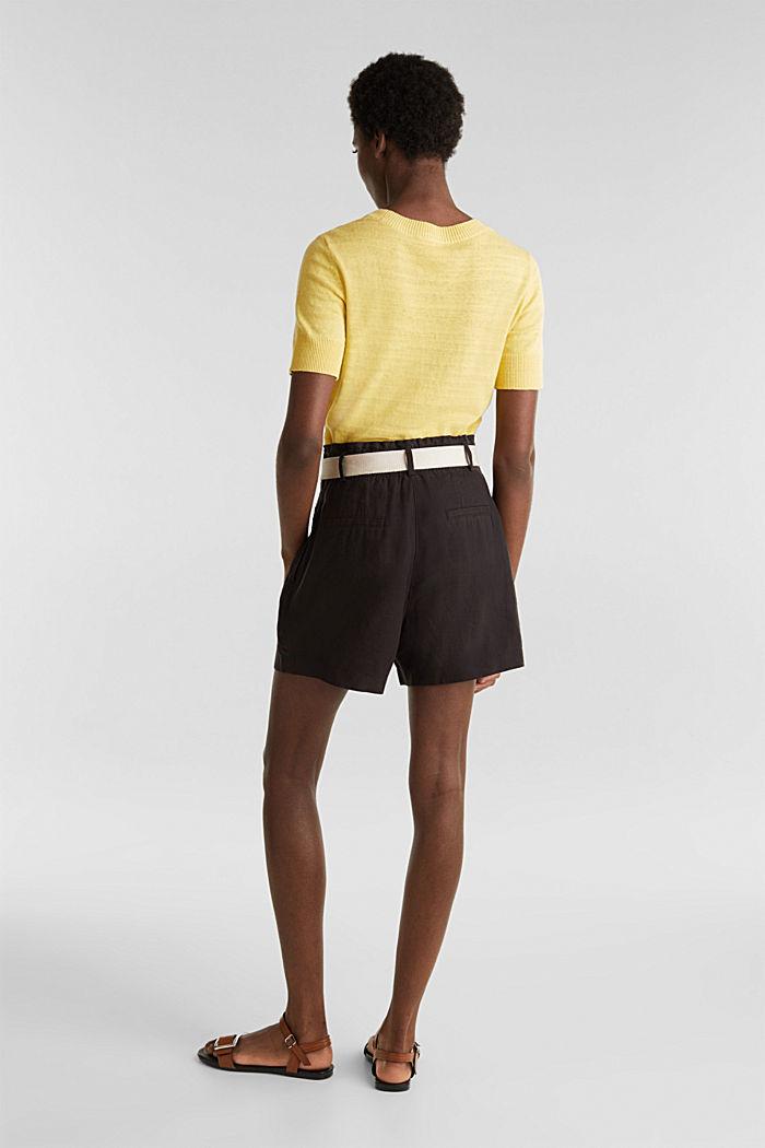 Made of linen: paperbag shorts, BLACK, detail image number 3