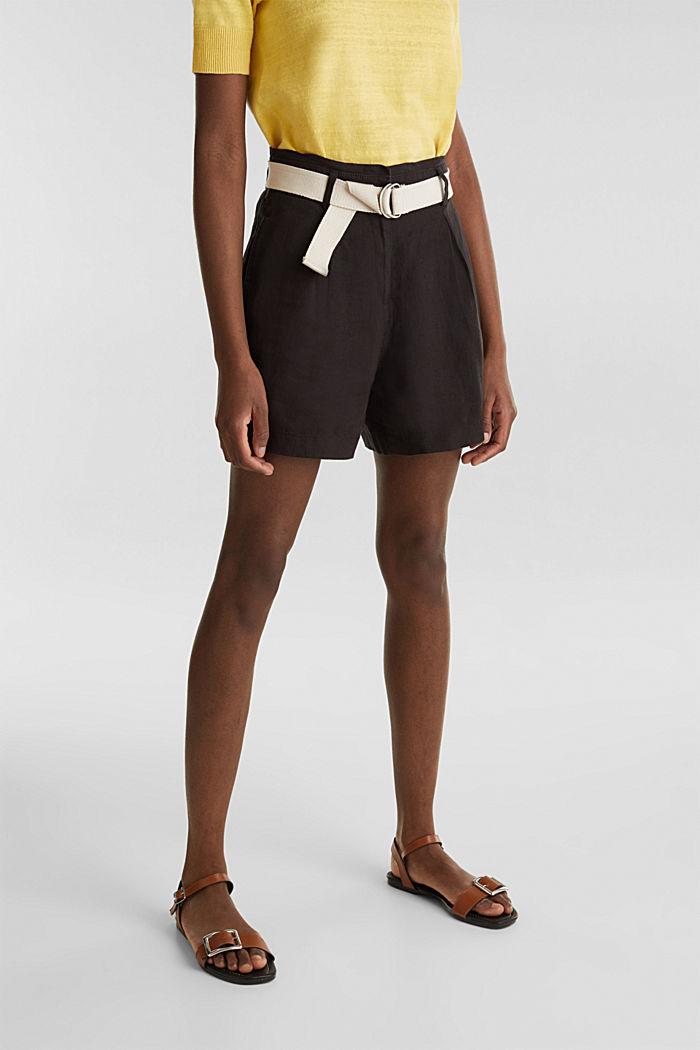 Made of linen: paperbag shorts, BLACK, detail image number 5