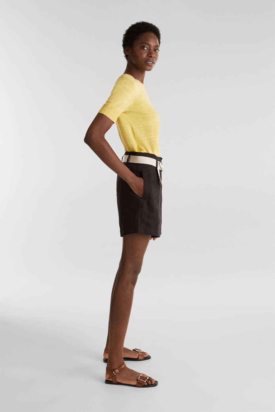 Made of linen: paperbag shorts, BLACK, detail image number 1