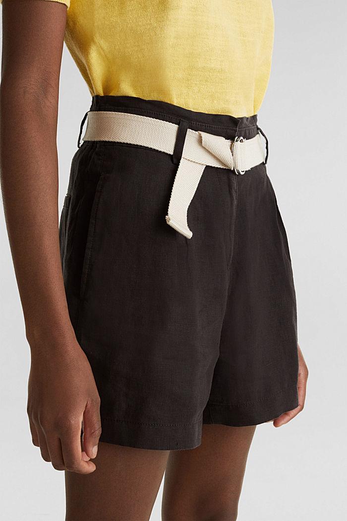 Made of linen: paperbag shorts, BLACK, detail image number 2
