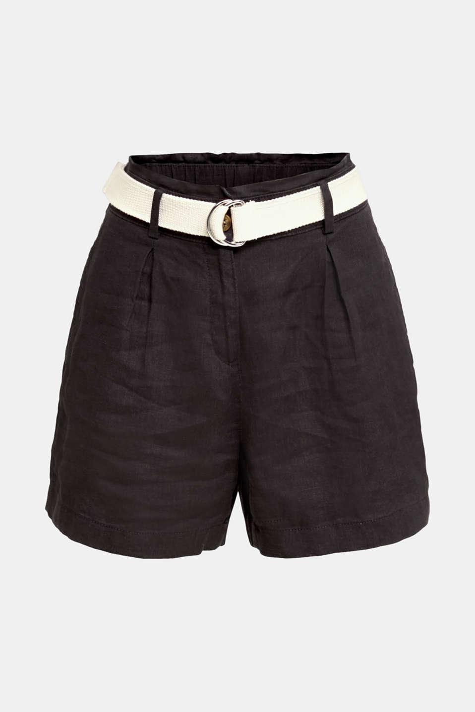 Made of linen: paperbag shorts, BLACK, detail image number 6