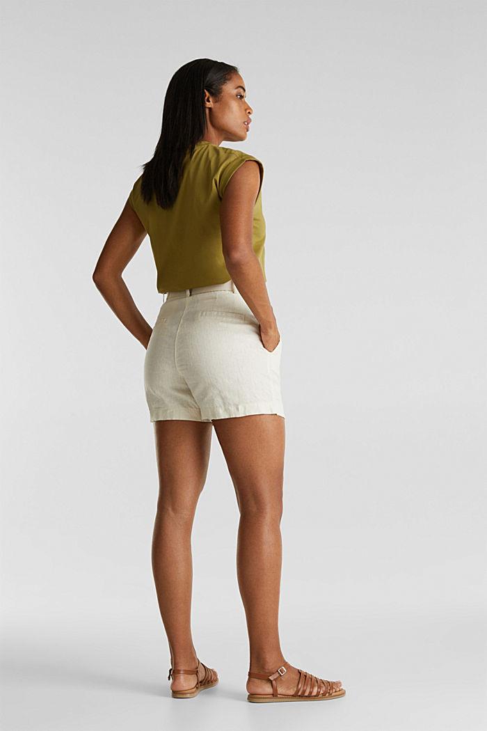 Aus Leinen: Paperbag-Shorts, SAND, detail image number 3