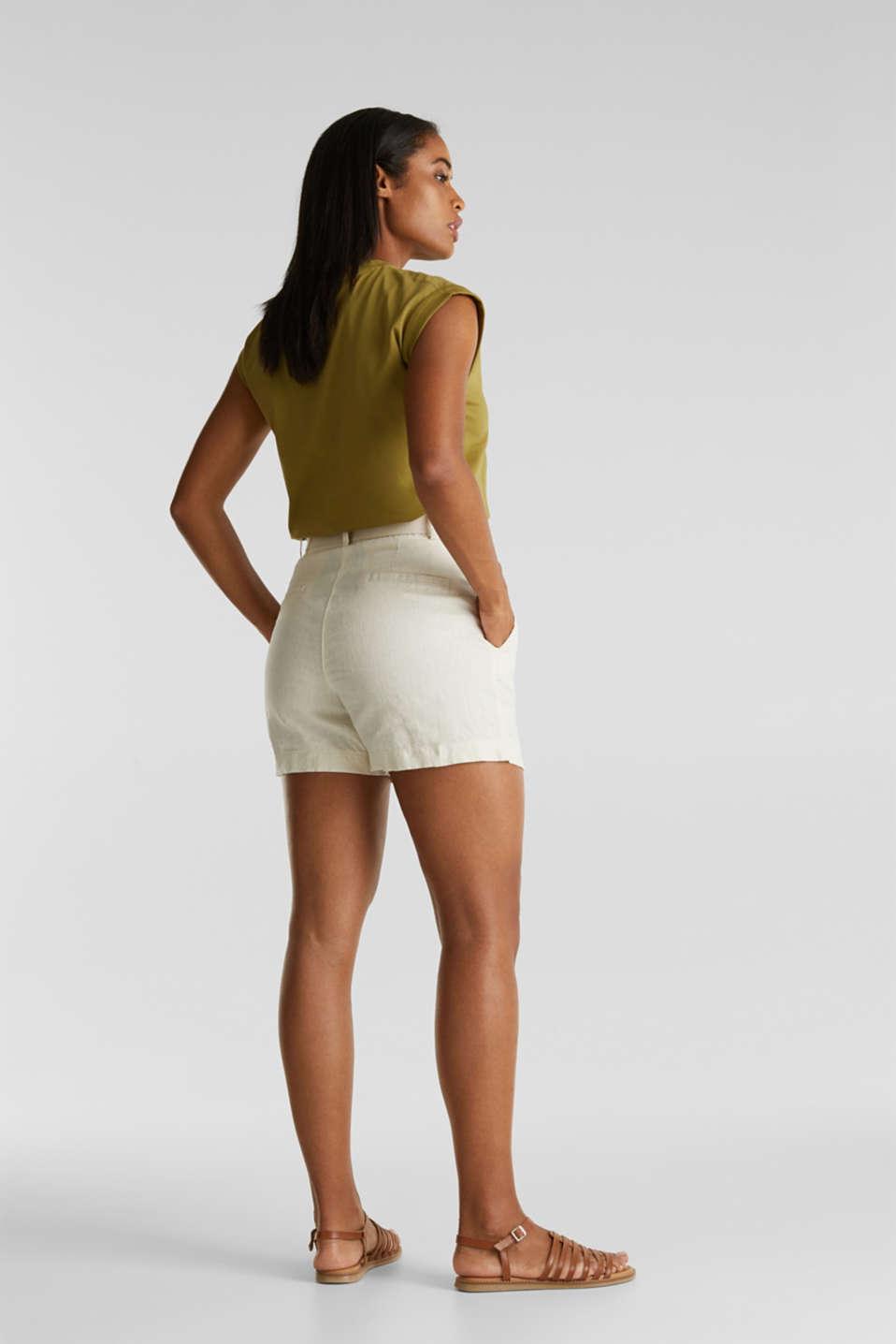 Made of linen: paperbag shorts, SAND, detail image number 3