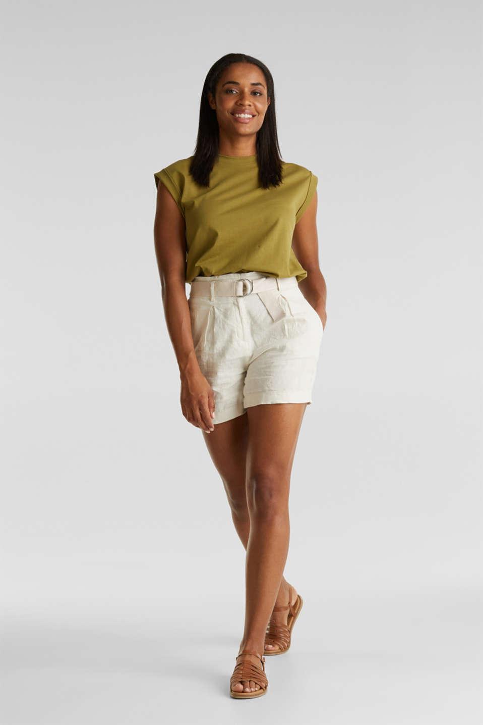 Made of linen: paperbag shorts, SAND, detail image number 1