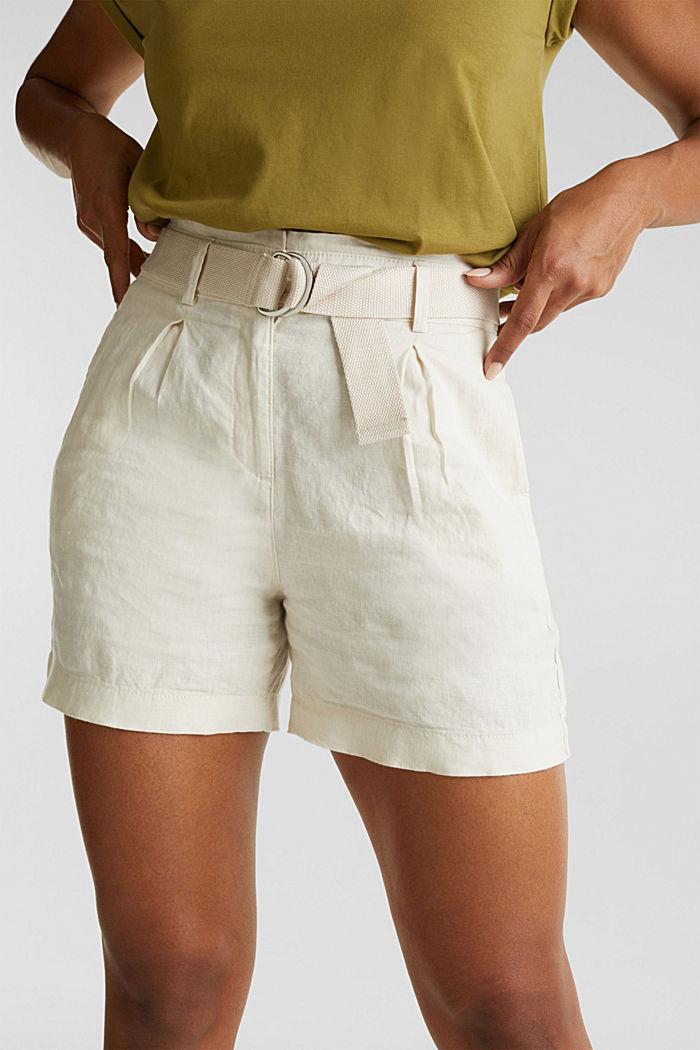 Aus Leinen: Paperbag-Shorts, SAND, detail image number 2