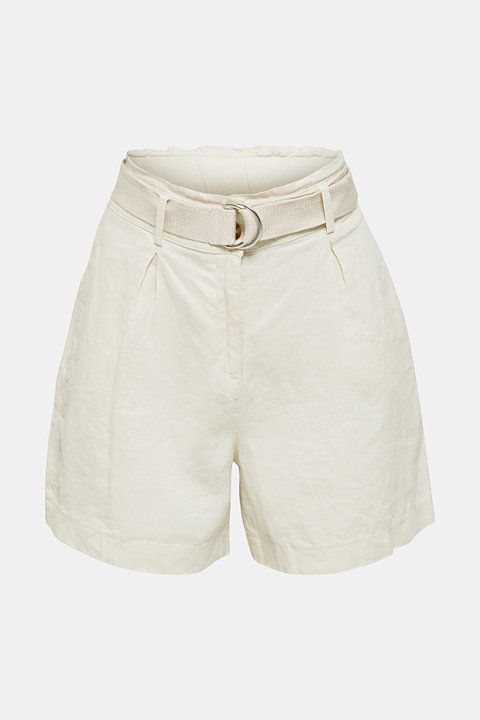 Made of linen: paperbag shorts