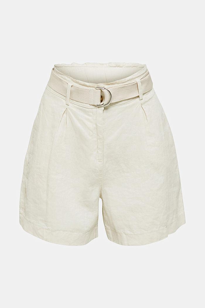 Aus Leinen: Paperbag-Shorts, SAND, detail image number 5