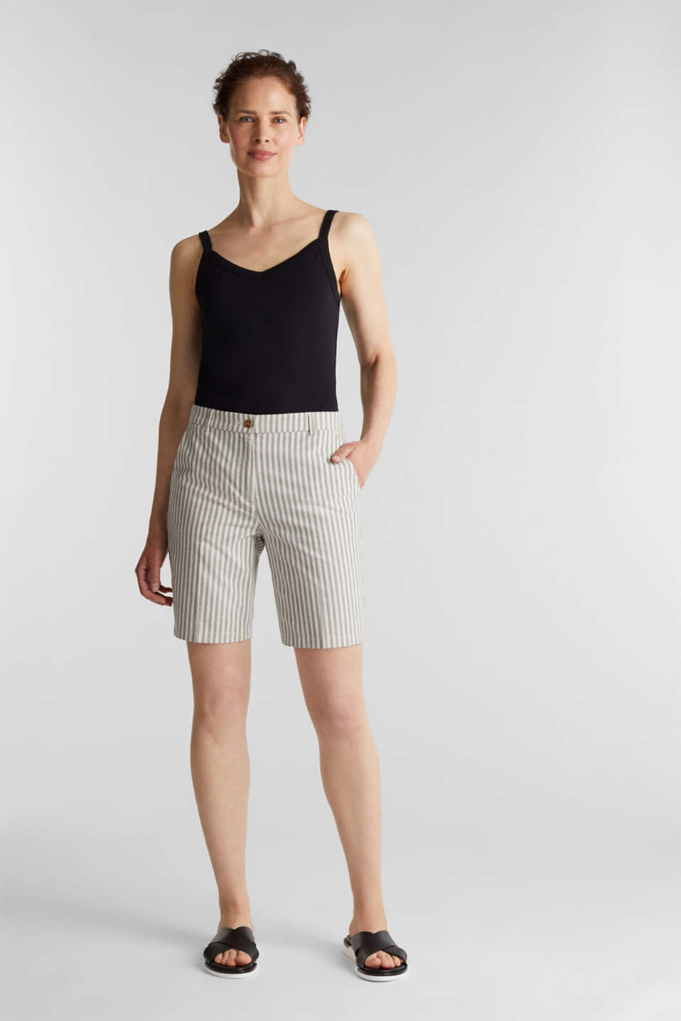 Chambray shorts in 100% cotton, NAVY 2, detail image number 1