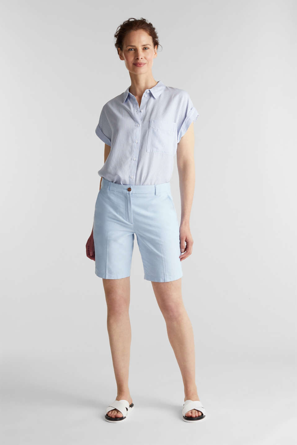 Chambray shorts made of 100% cotton, LIGHT BLUE, detail image number 0