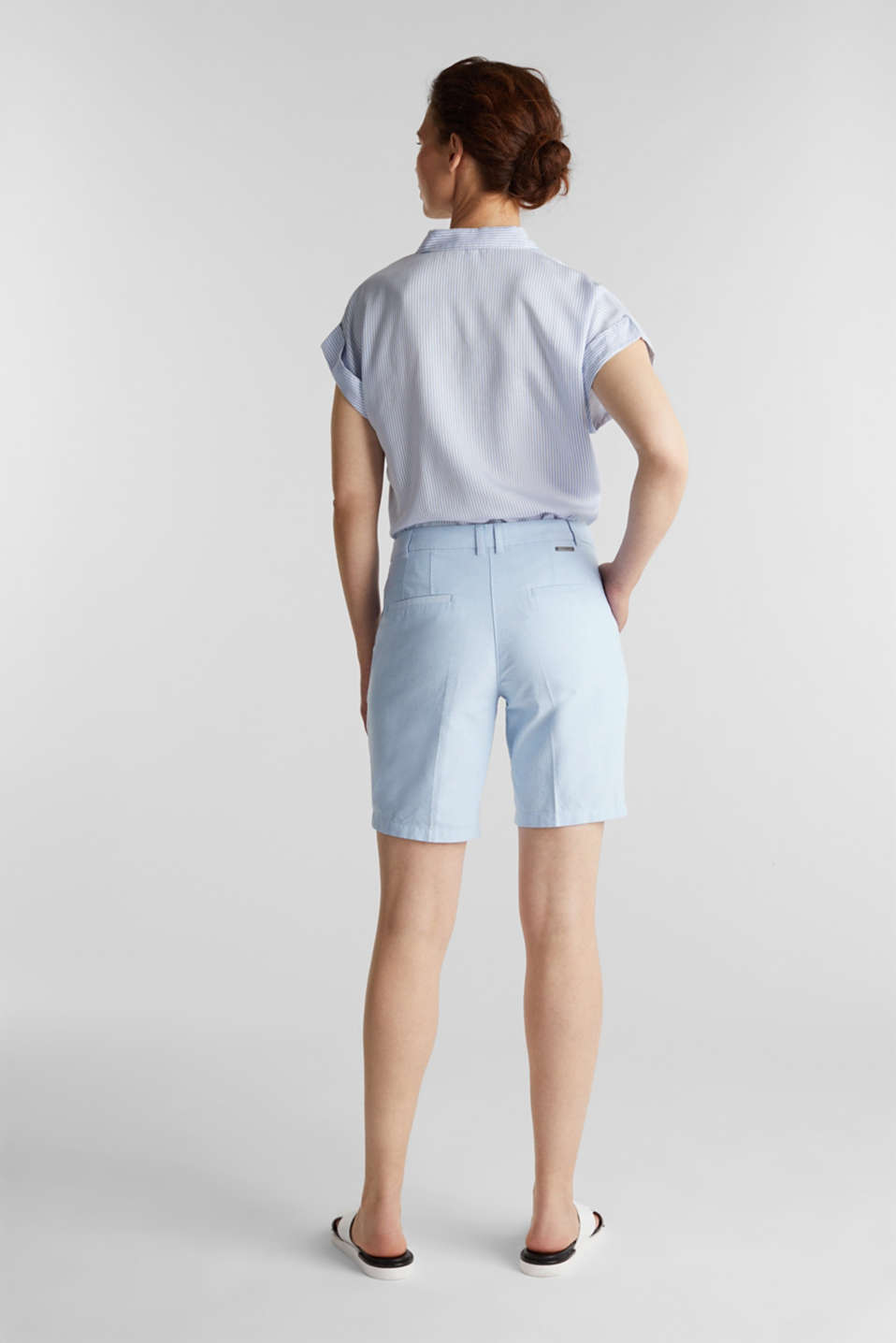 Chambray shorts made of 100% cotton, LIGHT BLUE, detail image number 2