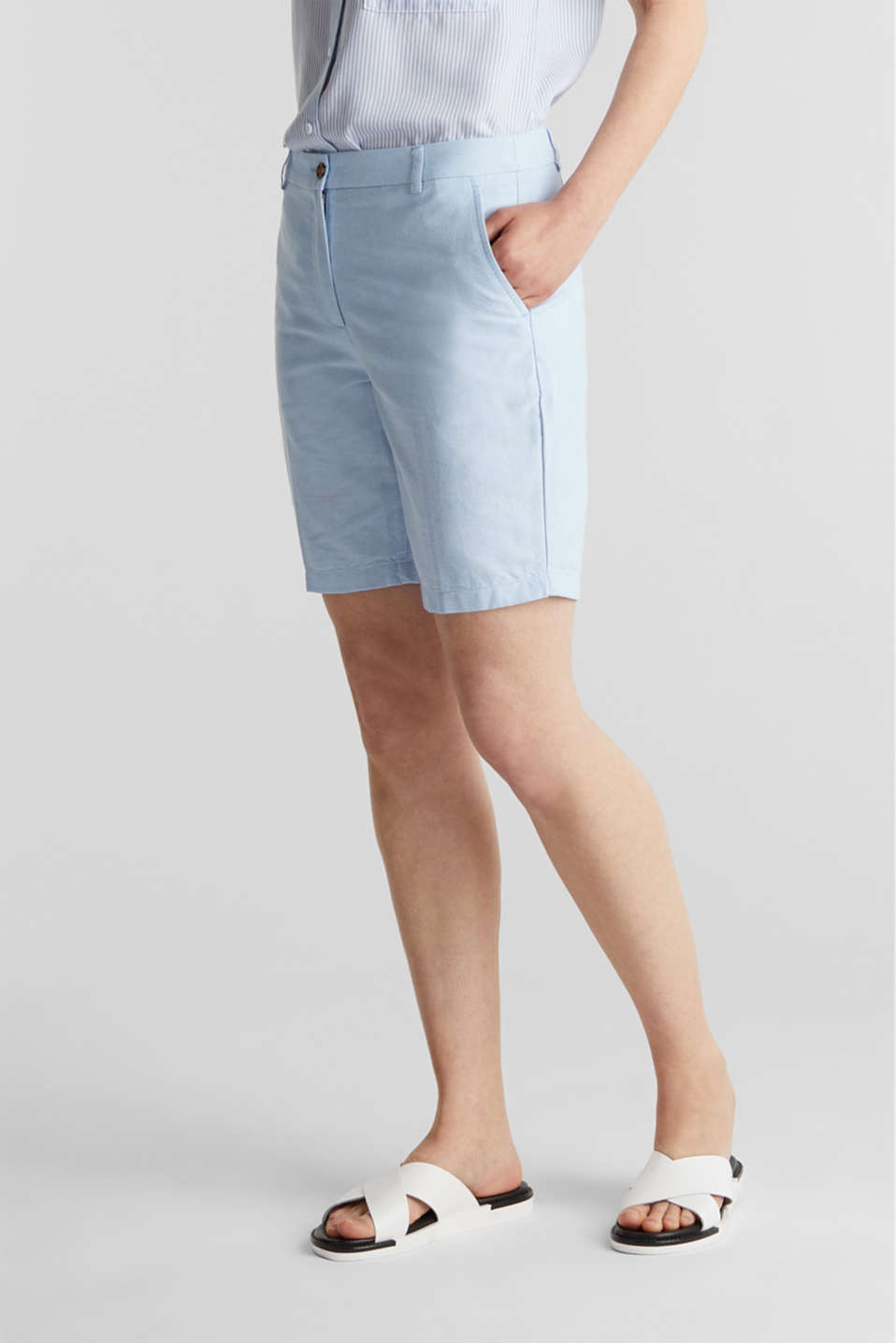 Chambray shorts made of 100% cotton, LIGHT BLUE, detail image number 5