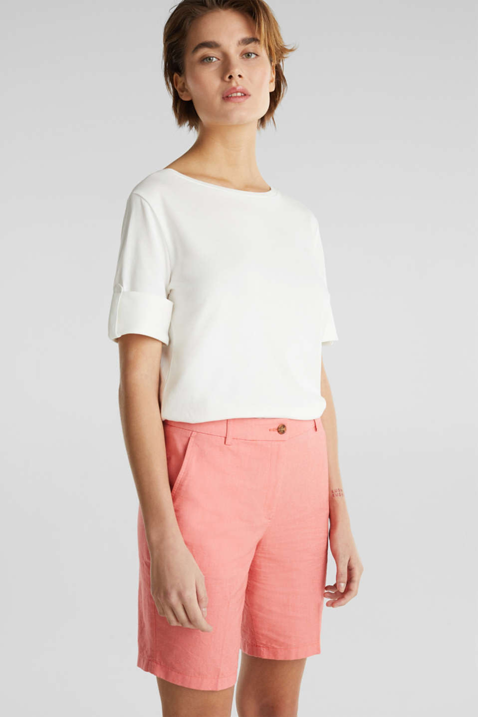 Chambray shorts made of 100% cotton, CORAL, detail image number 0