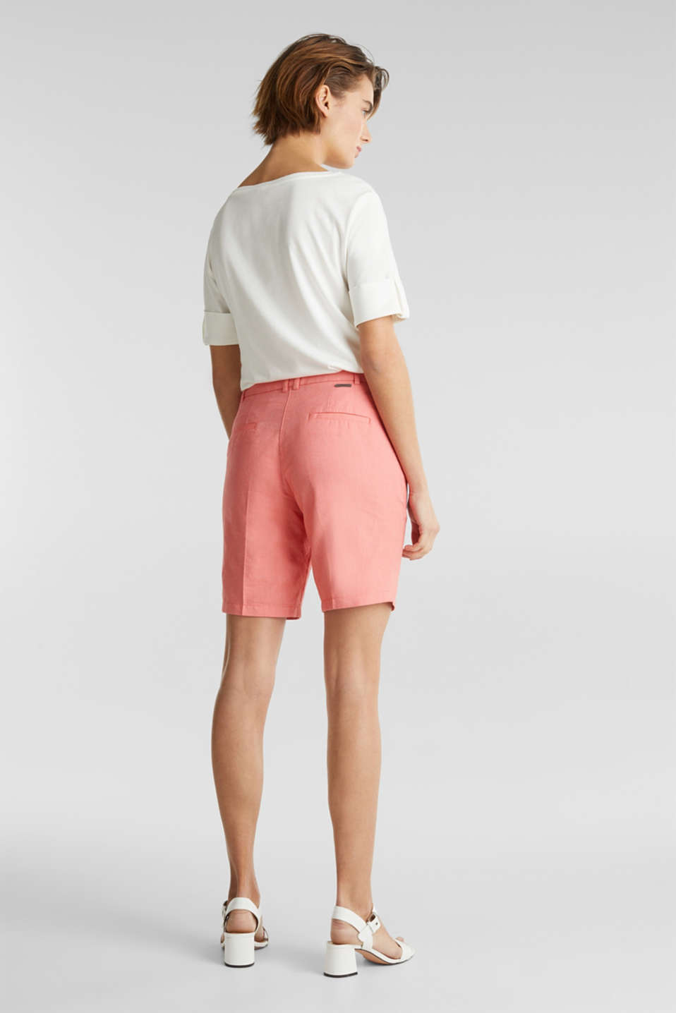 Chambray shorts made of 100% cotton, CORAL, detail image number 3