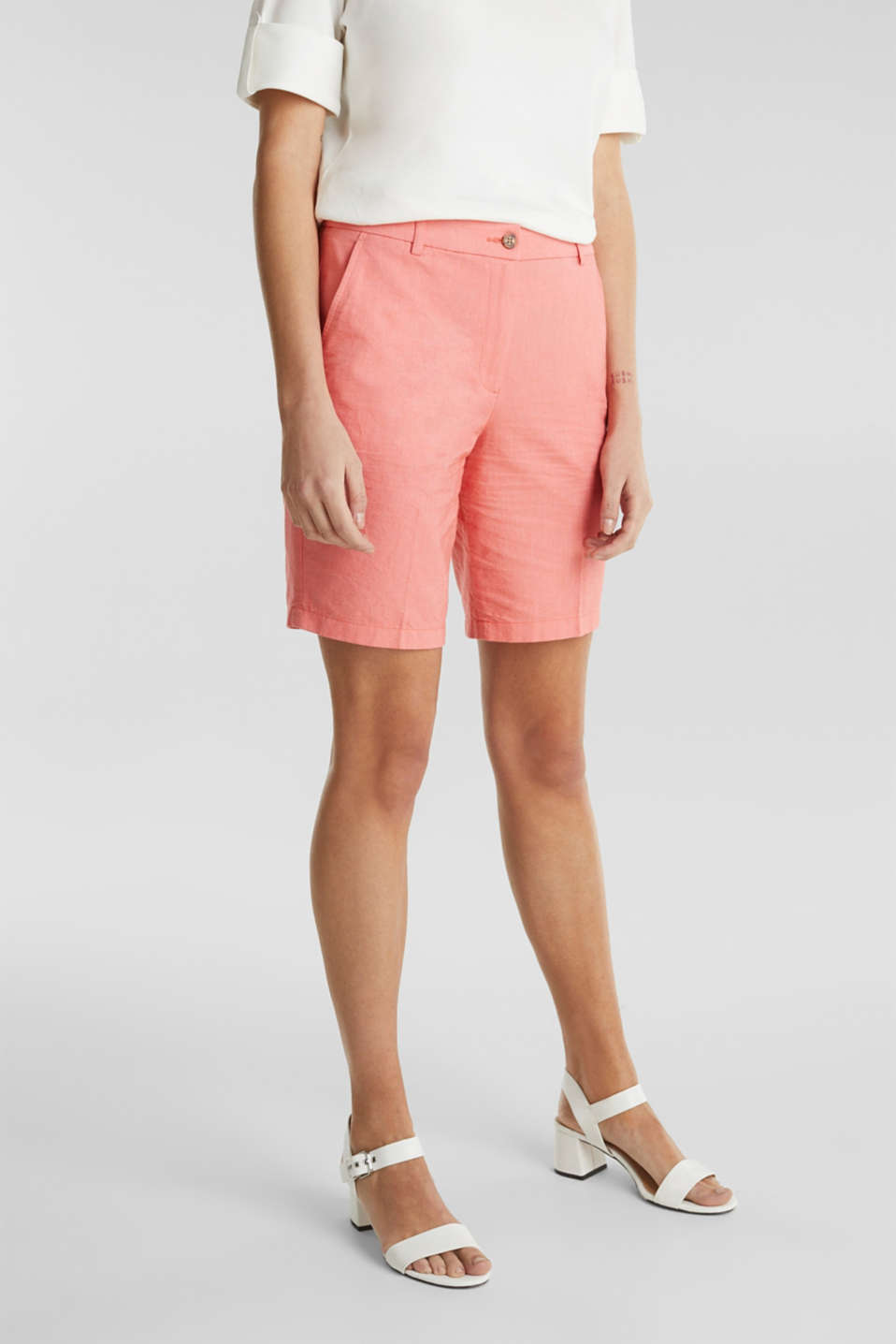 Chambray shorts made of 100% cotton, CORAL, detail image number 5
