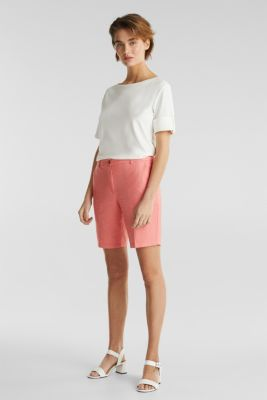 Chambray shorts made of 100% cotton, CORAL, detail