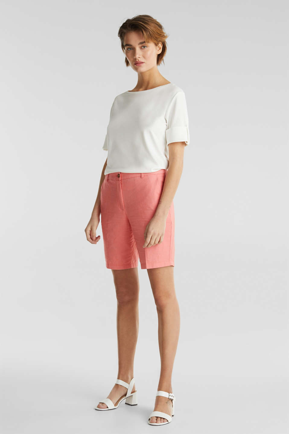Chambray shorts made of 100% cotton, CORAL, detail image number 1