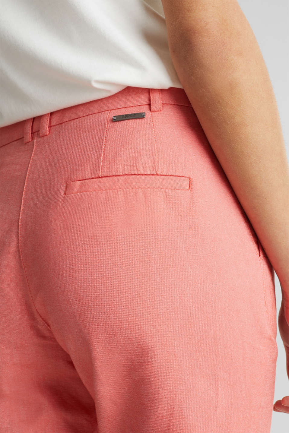 Chambray shorts made of 100% cotton, CORAL, detail image number 2
