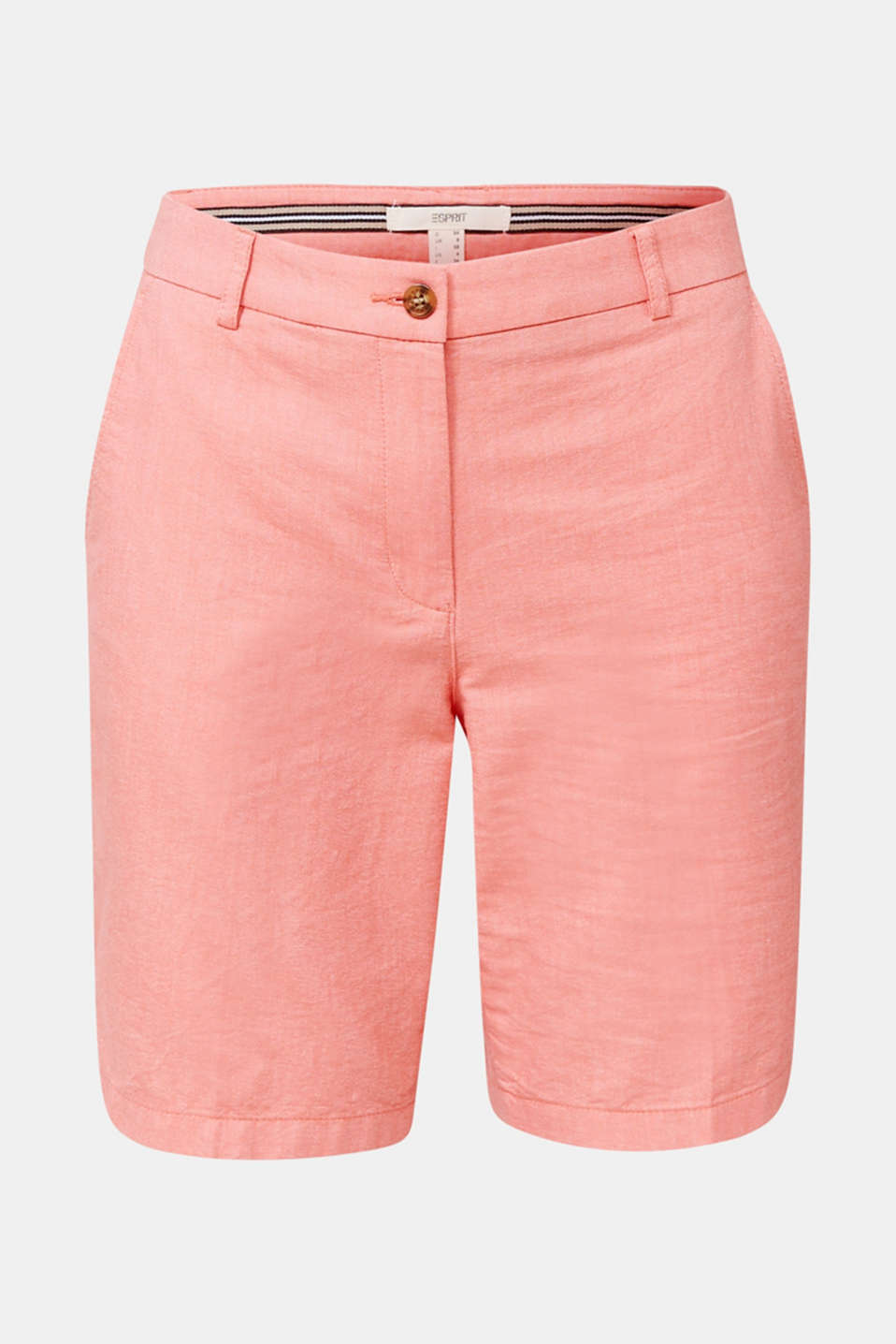 Chambray shorts made of 100% cotton, CORAL, detail image number 6