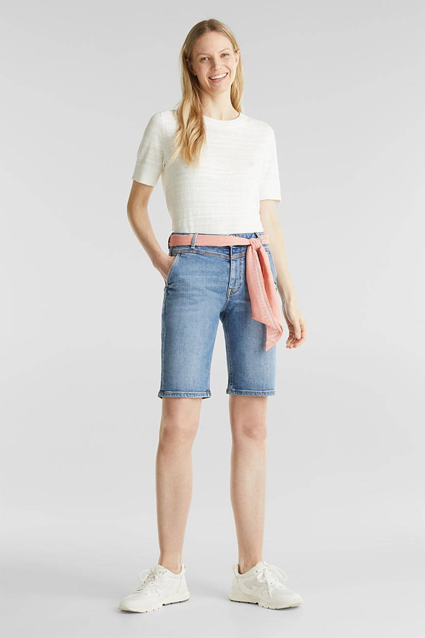 Denim Bermudas with bandana