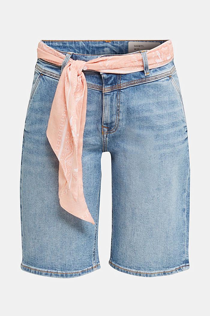 Jeans-Bermuda mit Bandana, BLUE MEDIUM WASHED, detail image number 6